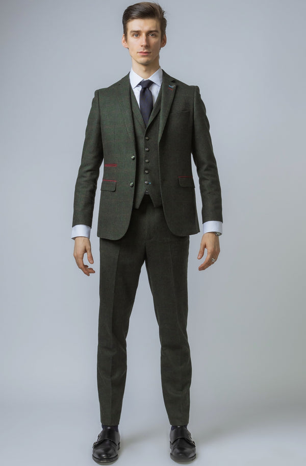 Joshua Green Tweed Check 3 Piece Suit