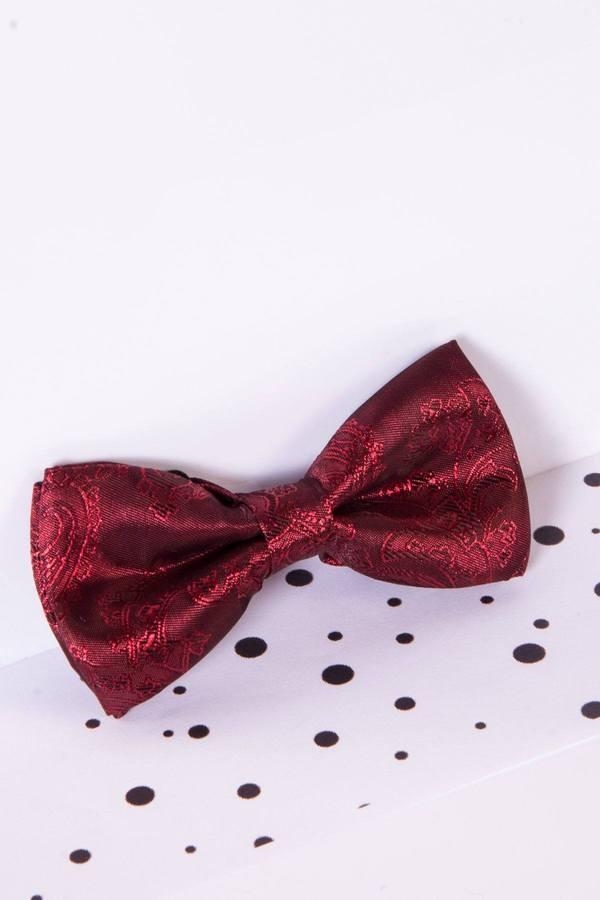 Childrens Wine Paisley Print Bow Tie - Mens Tweed Suits