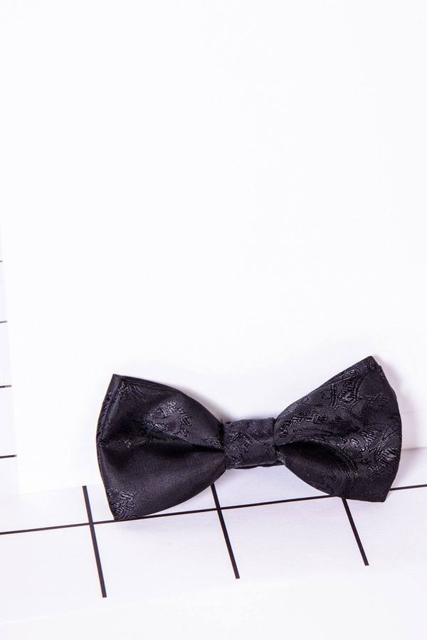 Childrens Black Paisley Print Bow Tie