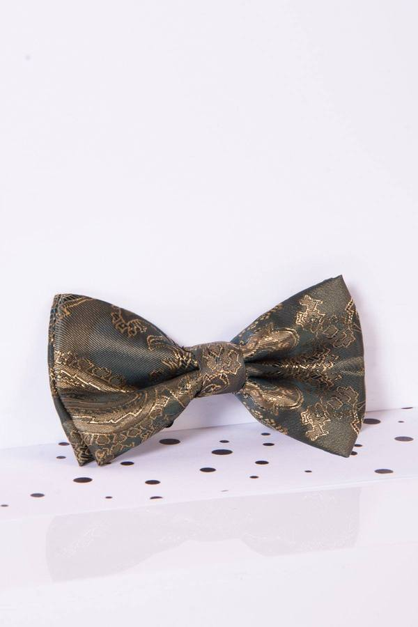 Childrens Gold Tan Paisley Print Bow Tie - Mens Tweed Suits