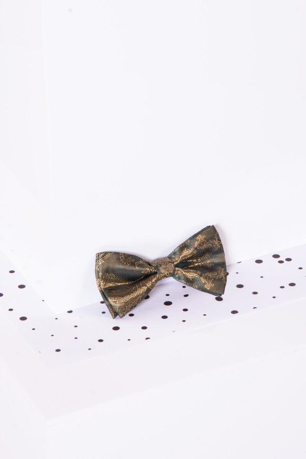 Childrens Gold Tan Paisley Print Bow Tie