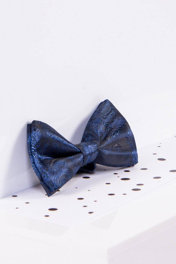 Childrens Navy Paisley Print Bow Tie - Mens Tweed Suits