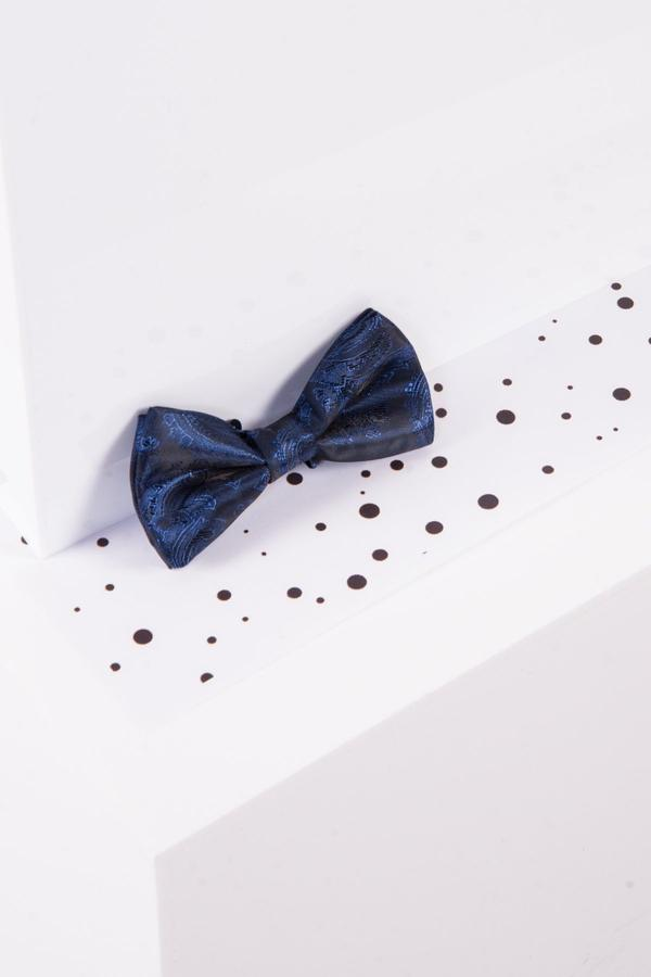 Childrens Navy Paisley Print Bow Tie
