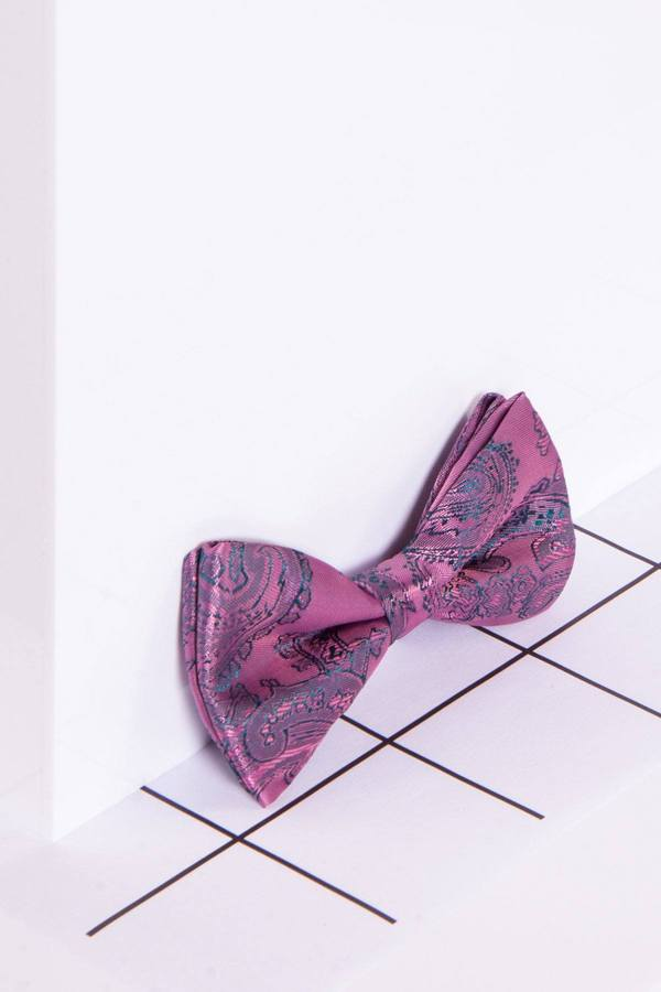 Childrens Pink Paisley Print Bow Tie