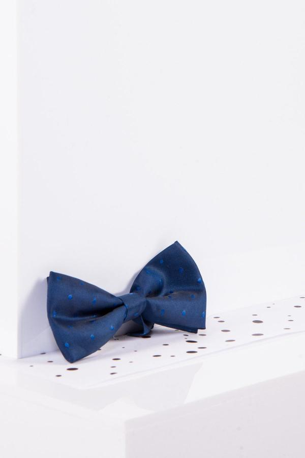 Childrens Blue Polka Dot Bow Tie - Mens Tweed Suits