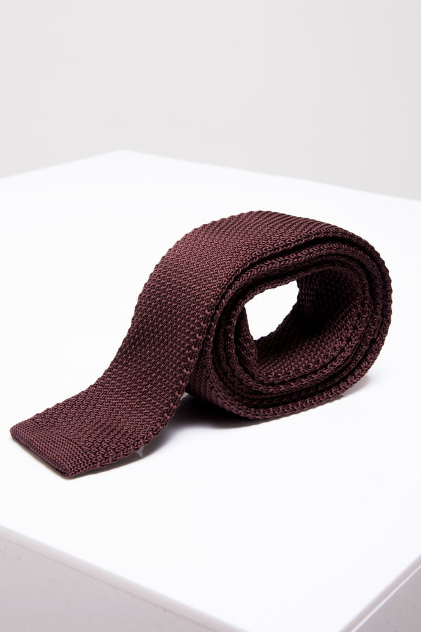 KT Brown Knitted Tie - Mens Tweed Suits