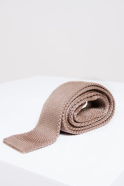 Tan Knitted Tie | Wedding Ties & Accessories | Mens Tweed Suits