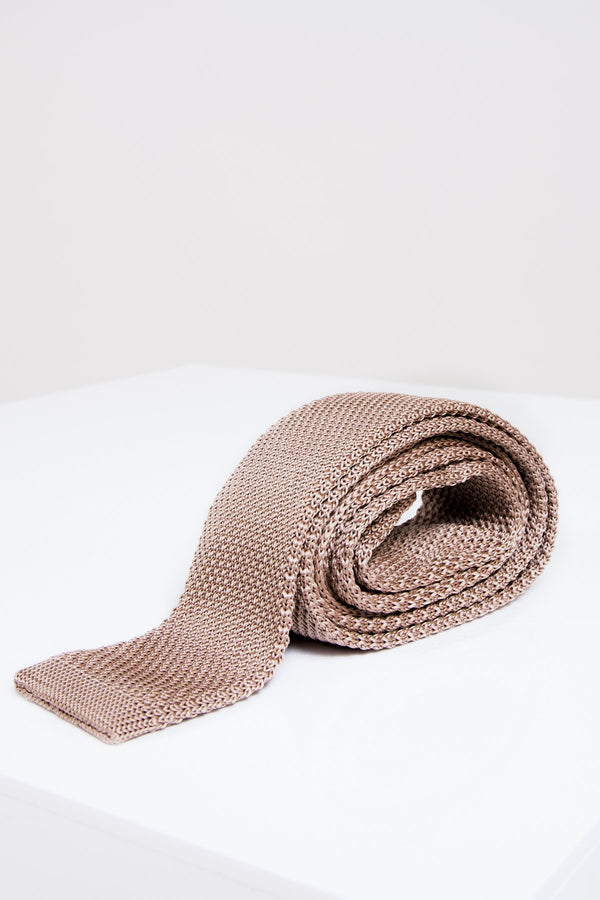 KT Light Tan Knitted Tie - Mens Tweed Suits