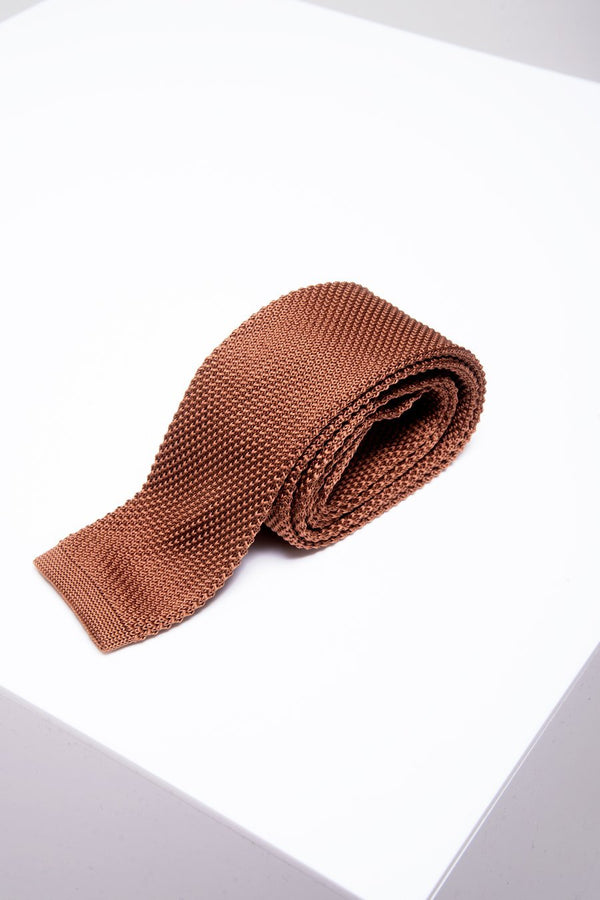 KT Dark Rust Knitted Tie - Mens Tweed Suits