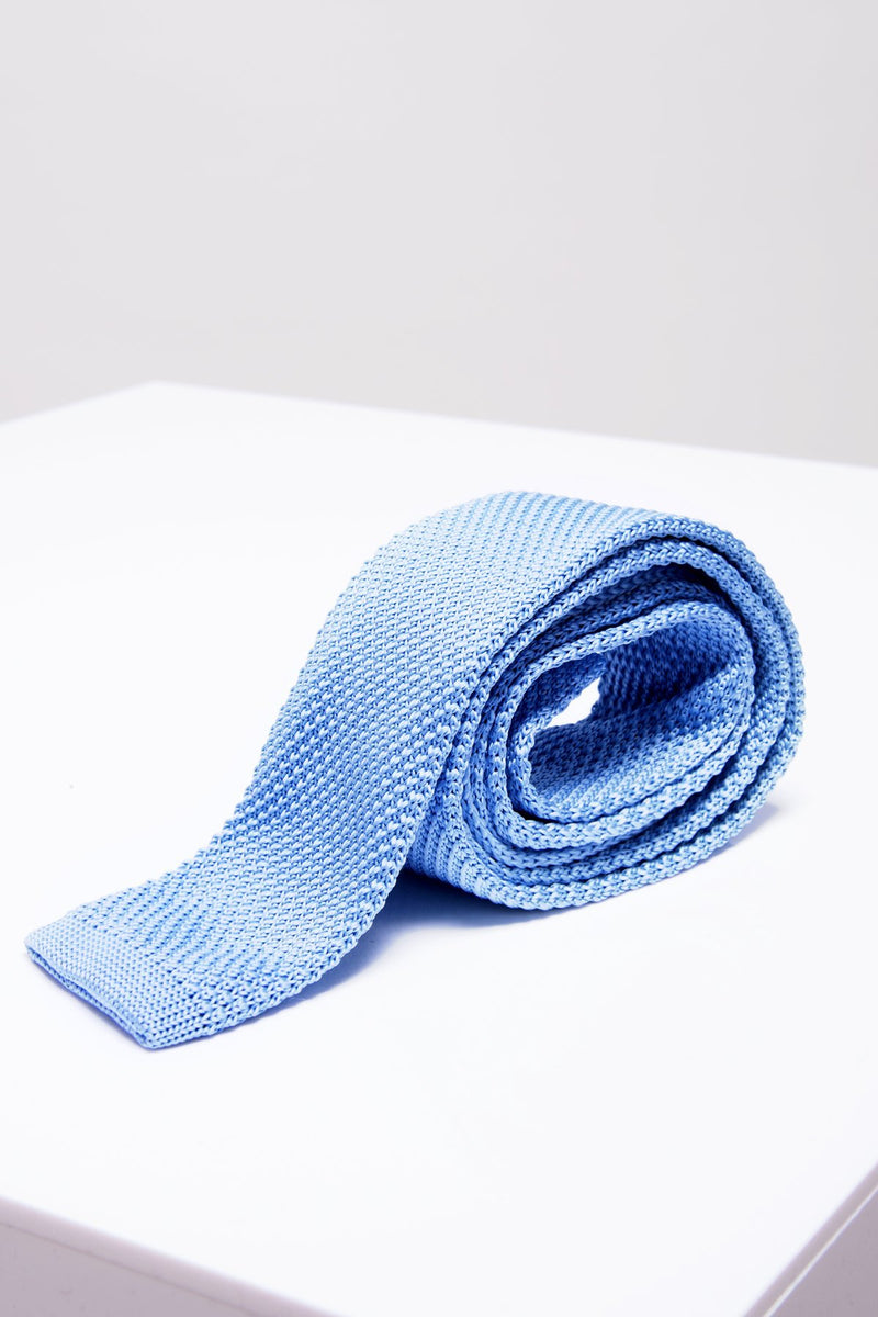 KT Sky Blue Knitted Tie - Mens Tweed Suits