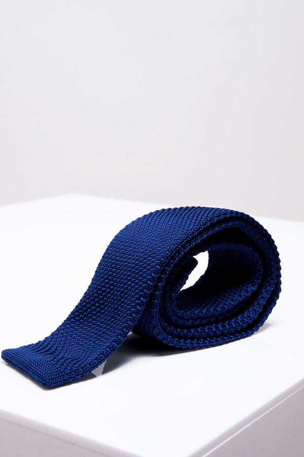 KT Royal Blue Knitted Tie - Mens Tweed Suits