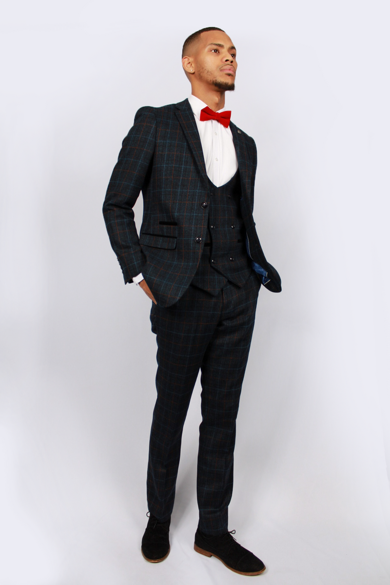 Harvey Navy Tweed Suit | Paul Andrew - Mens Tweed Suits