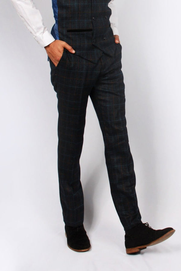 Harvey Navy Tweed Trousers | Paul Andrew | Mens Tweed Suits shop menstweedsuits.com fashion 2018 london