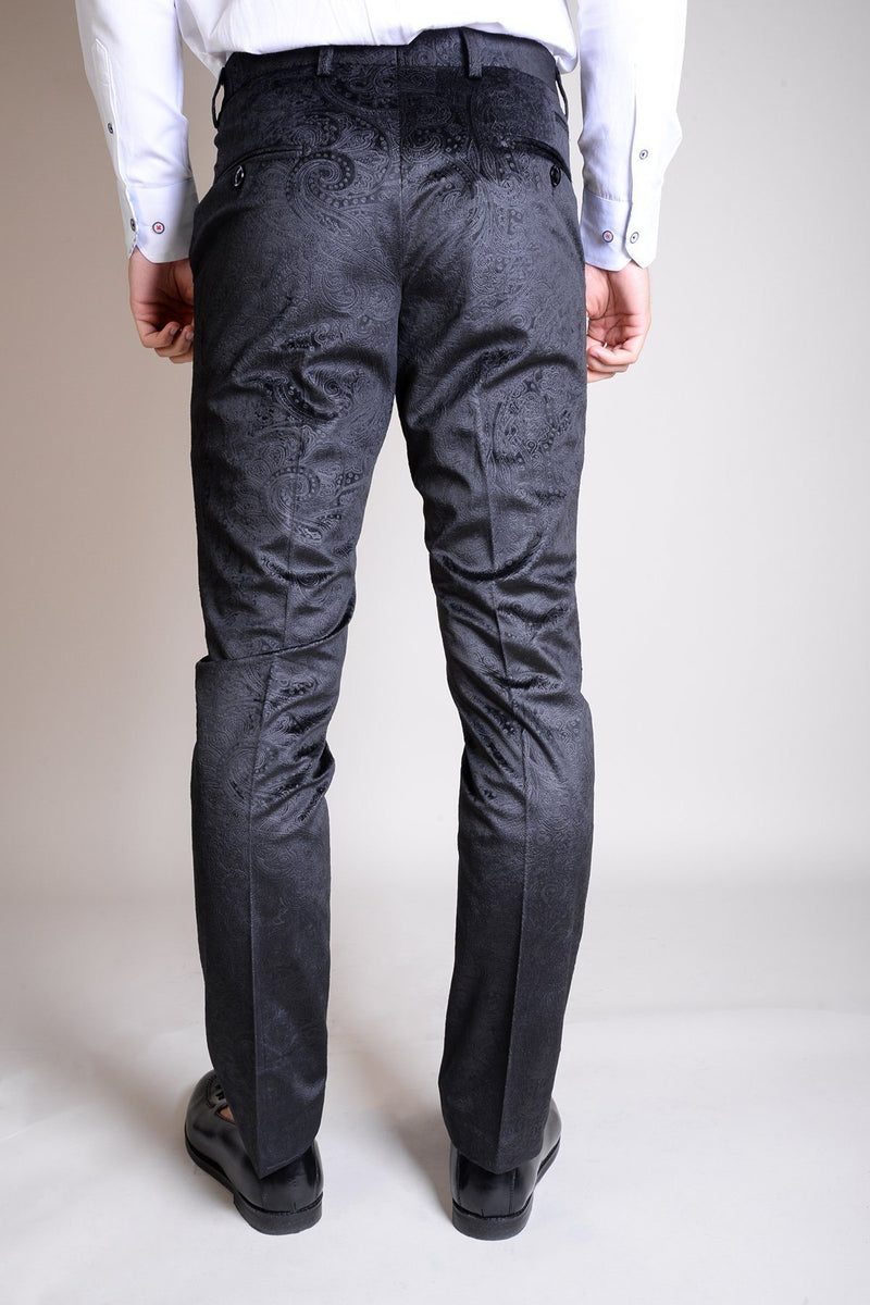 Simon Jacquard Black Velvet Trousers - Mens Tweed Suits