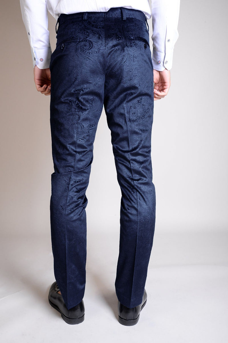Simon Jacquard Navy Velvet Trousers - Mens Tweed Suits