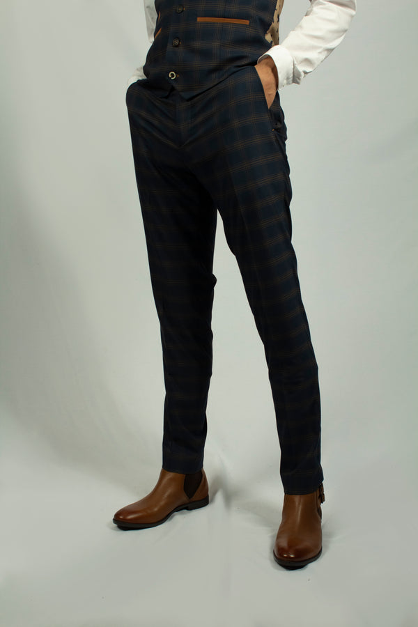 Leon Navy Check Trousers by Fratelli | Mens Tweed Suits