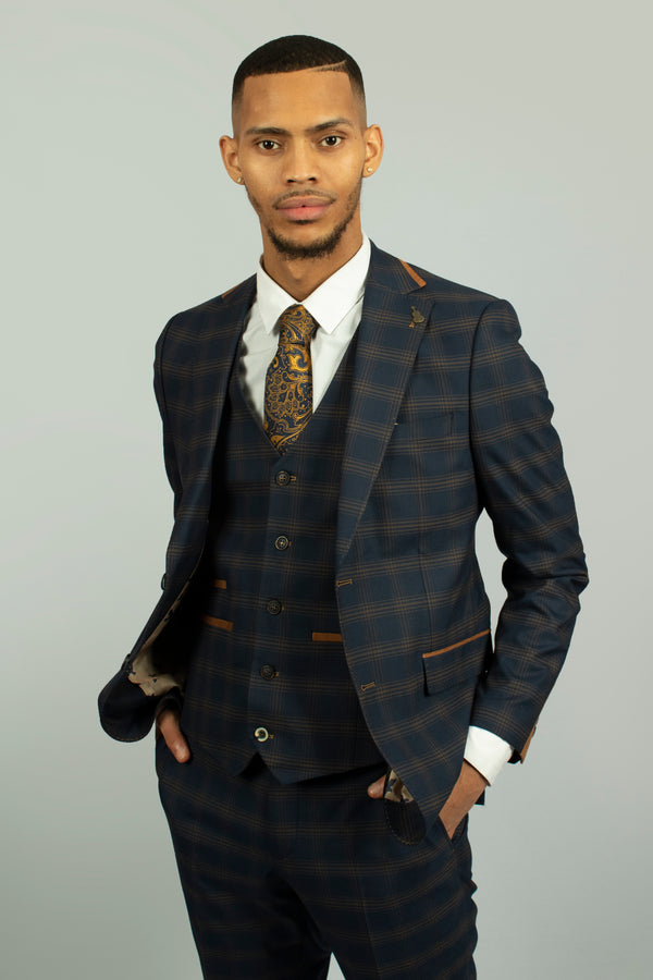 Leon Navy Check Blazer by Fratelli | Mens Tweed Suits