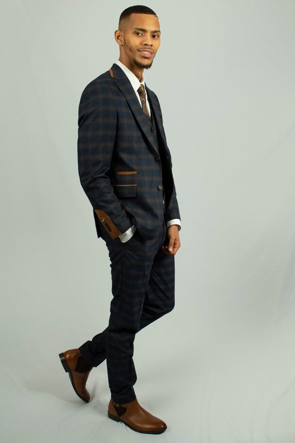 Leon Navy Check Suit | Fratelli - Mens Tweed Suits
