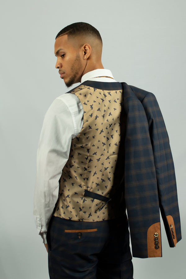 Leon Navy Check Waistcoat by Fratelli | Mens Tweed Suits