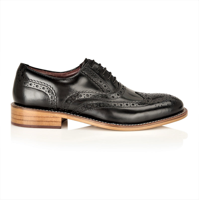 Boys Black Leather Lace Up Brogue Shoes