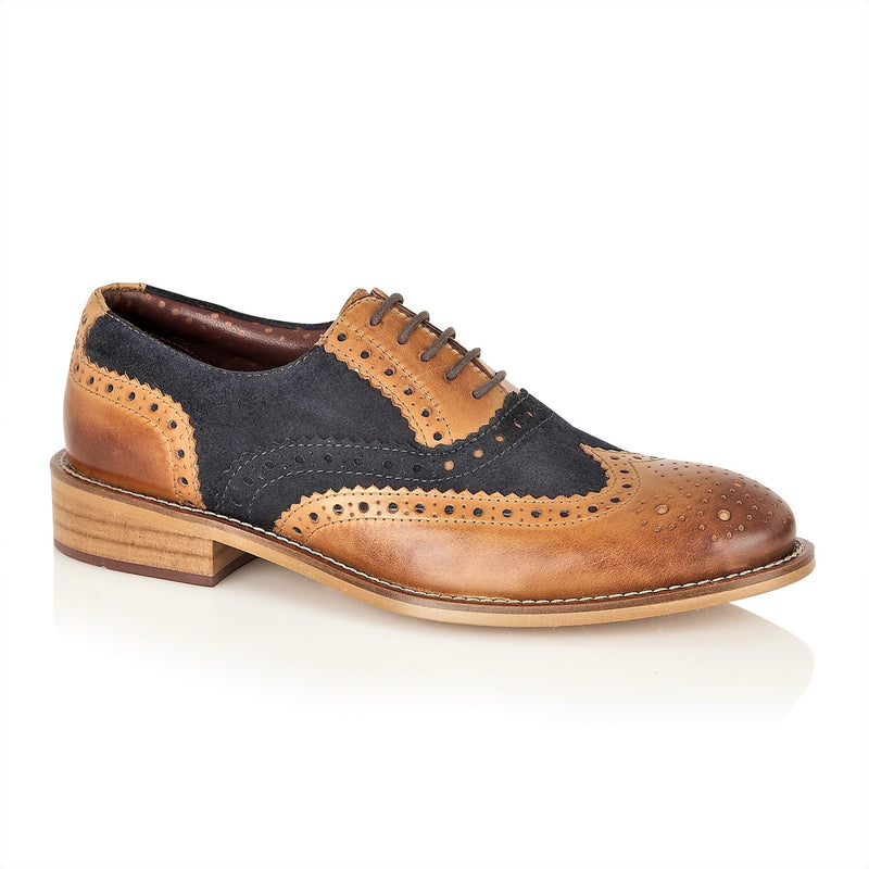 Boys Tan and Navy Lace Up Brogue Shoes