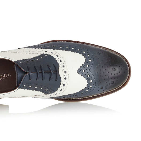 Navy and White Brogue Shoes | London Brogues | Mens Tweed Suits