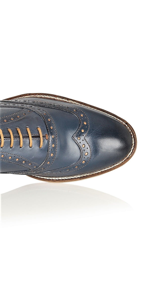 Navy Oxford Brogue Shoes | London Brogues | Mens Tweed Suits