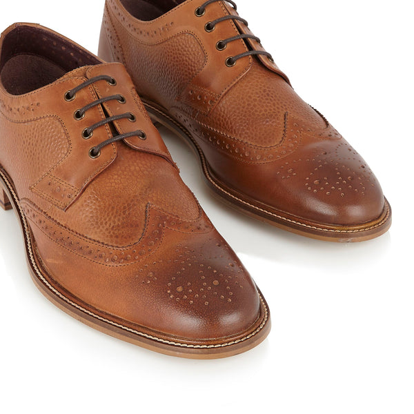 London Brogue Tan Derby Lace Up Shoe