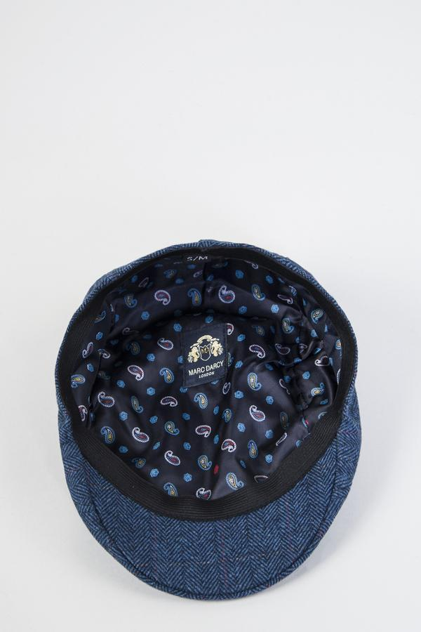 Dion Blue Tweed Flat Cap | Marc Darcy | Mens tweed Suits