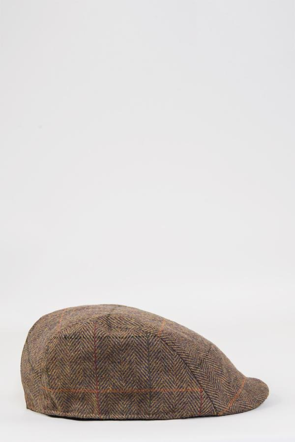 Nelson Tan Check Tweed Flat Cap | Marc Darcy | Mens Tweed Suits