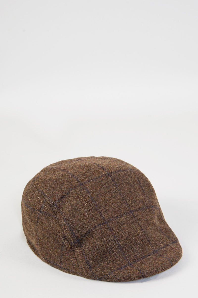 TB4 - Brown Navy Check Print Tweed Flat Cap - Mens Tweed Suits