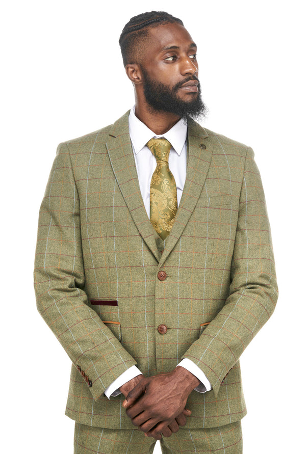 Ellis Green Tweed Check Blazer | Marc Darcy Jackets | Mens Tweed Suits