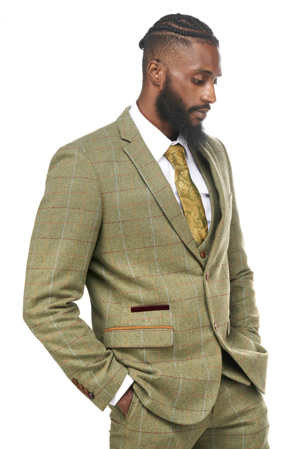 ELLIS GREEN CHECK TWEED JACKET AND WAISTCOAT SET | MARC DARCY MENSWEAR