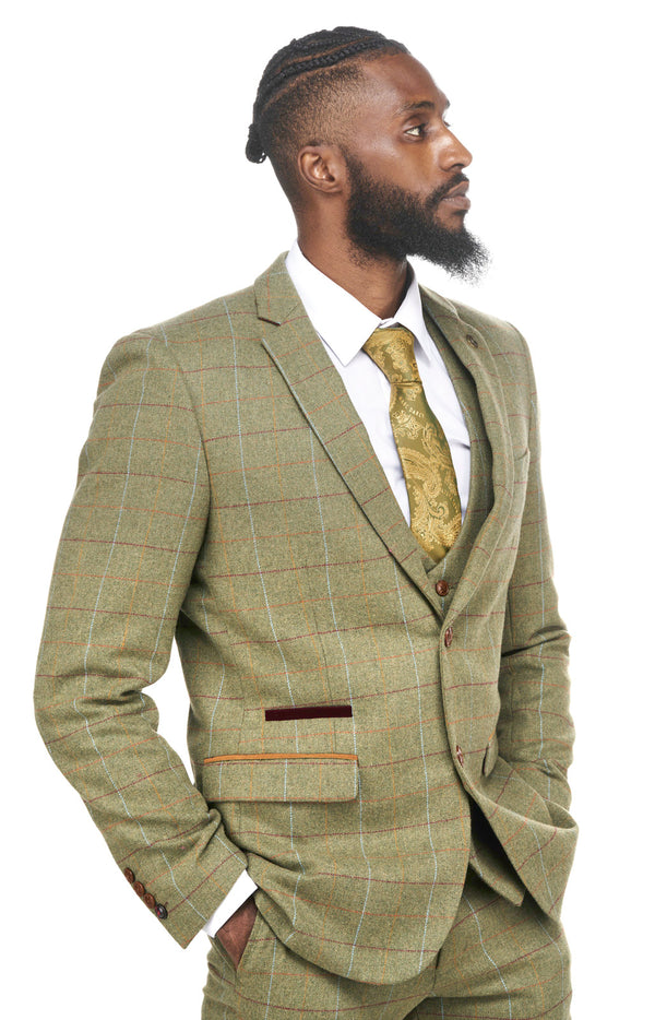 Green Tweed Check Three Piece Suit | Wedding Suits | Marc Darcy Suits