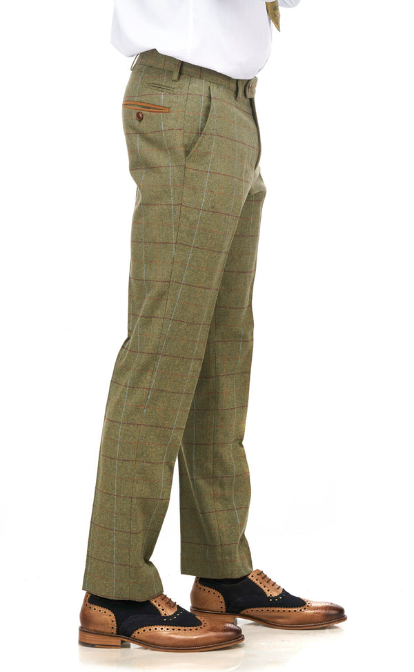 Ellis Green Tweed Check Trousers | Marc Darcy | Mens Tweed Suits