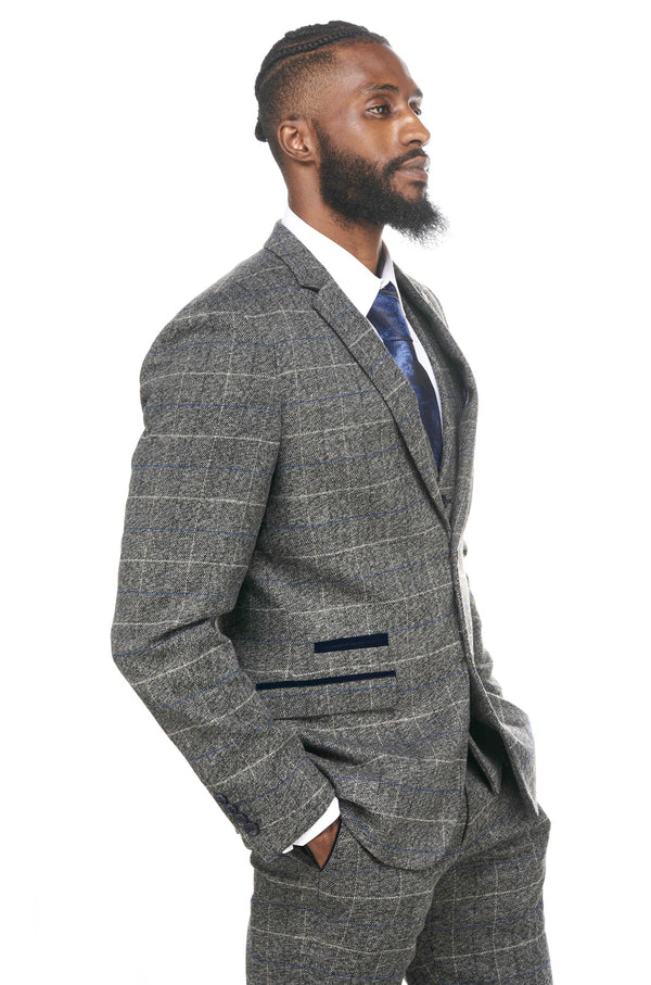 Grey Tweed Check Blazer | Scott Grey Marc Darcy Blazer | Mens Tweed Suits