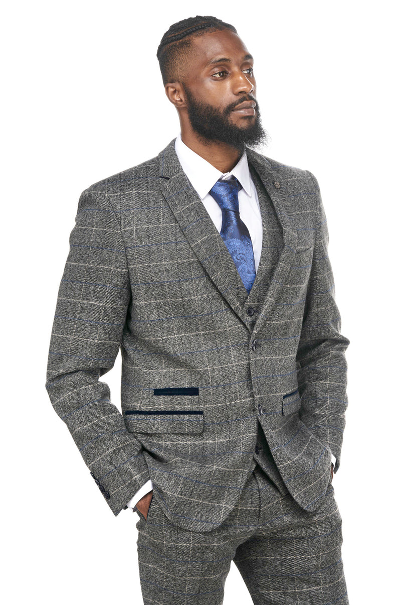 Grey Tweed Check Jacket and Waistcoat Set | Marc Darcy | Mens Tweed Suits