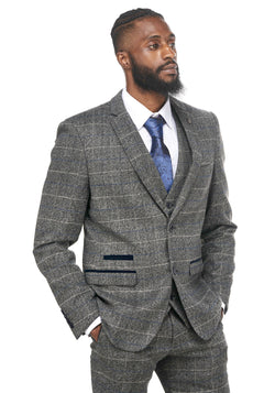 Grey Tweed Check Wedding Suits | Mens Tweed Suits | Marc Darcy Tweed Suits