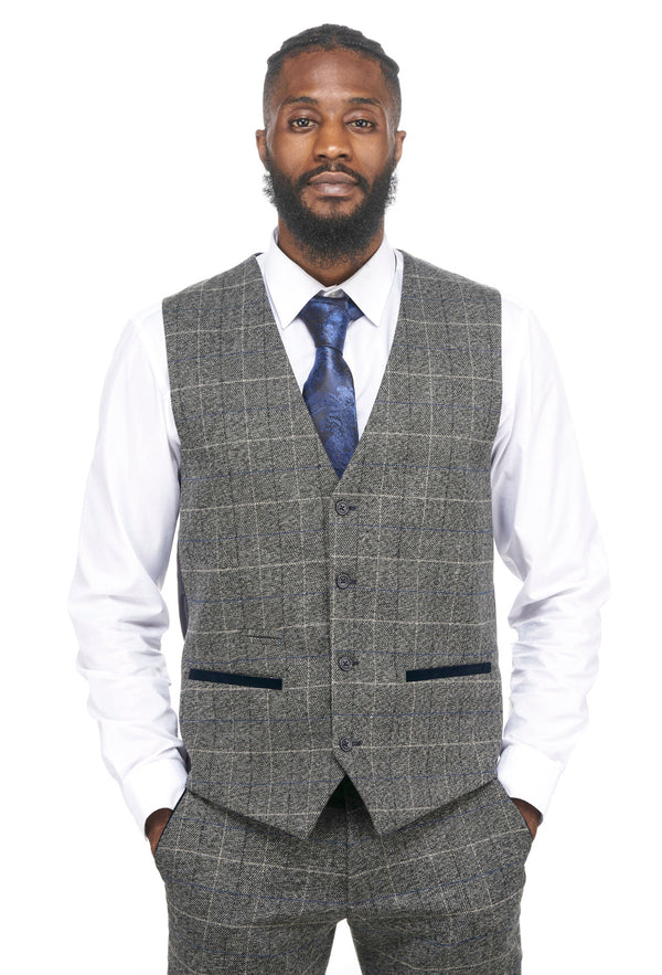 Grey Check Tweed Waistcoats | Scott Grey Marc Darcy | Mens Tweed Suits