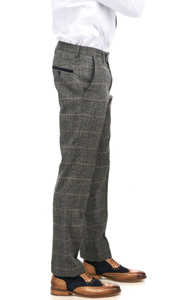 Scott Grey Tweed Check Trousers| Marc Darcy Trousers | Mens Tweed Suits