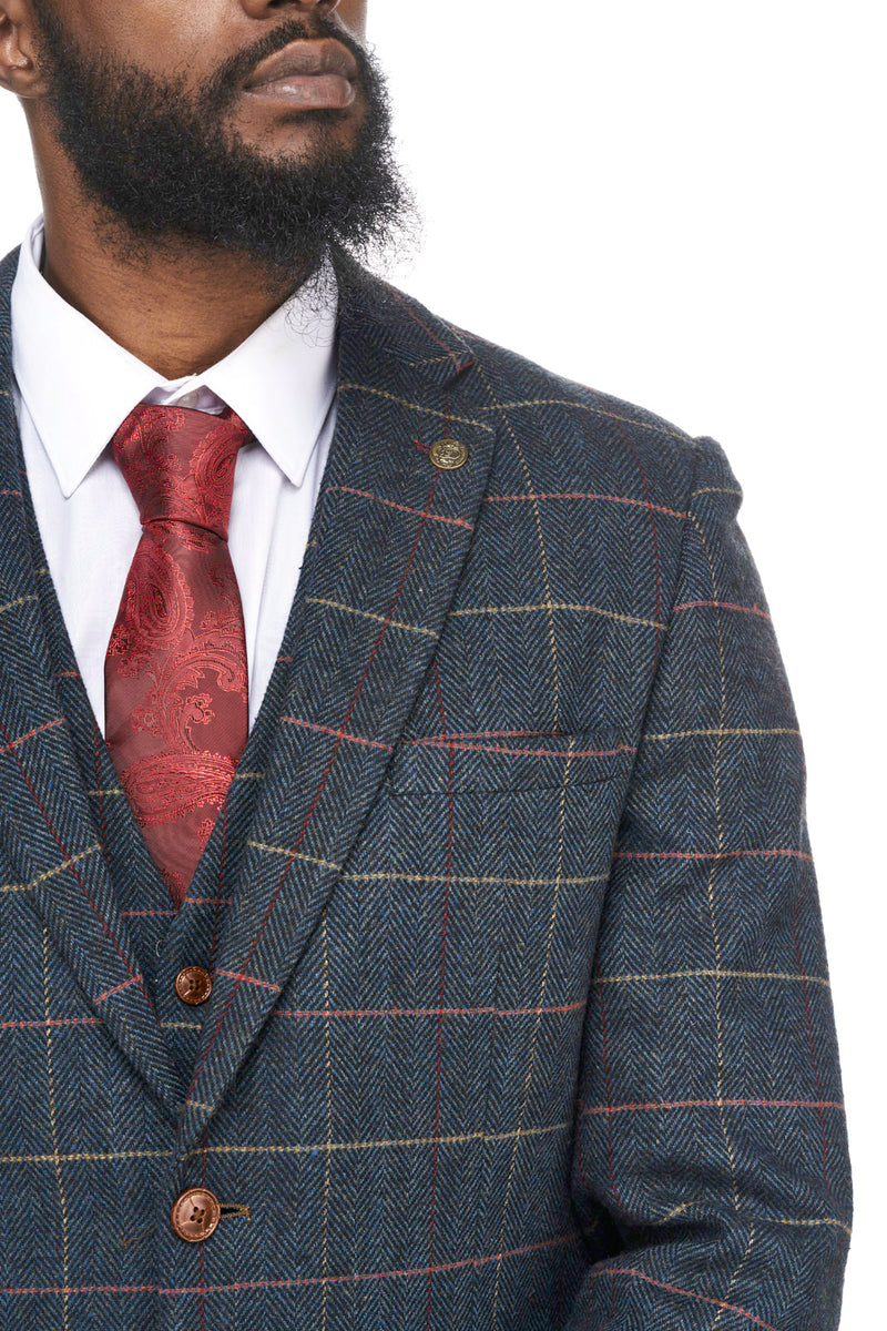Navy Tweed Check Jackets | Mens Tweed Jackets | Eton Marc Darcy | Mens Tweed Suits