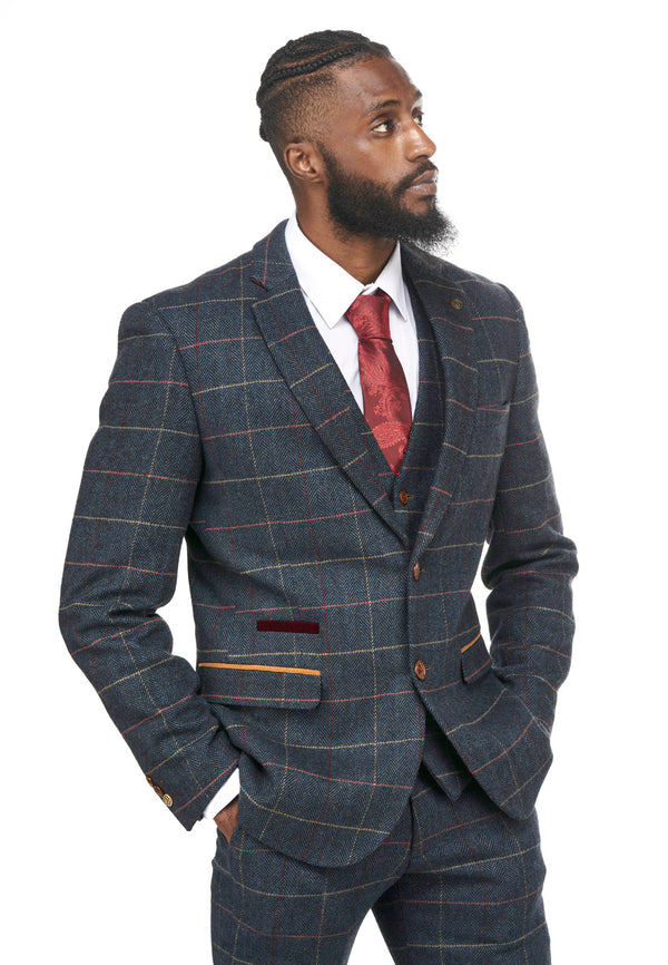 Blue Tweed Check Wedding Suits | Mens Tweed Suits | Eton Marc Darcy Menswear