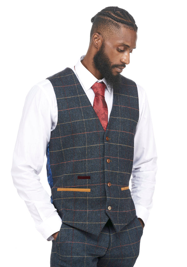 Blue Tweed Check Waistcoats | Mens Tweed Waistcoats | Mens Tweed Suits | Marc Darcy