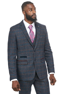 Navy Tweed Check Suits | Tweed Wedding Suits | Marc Darcy Suits | Mens Tweed Suits