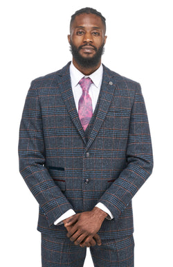 Navy Tweed Jacket and Waistcoat Set | Marc Darcy Menswear | Mens Tweed Suits