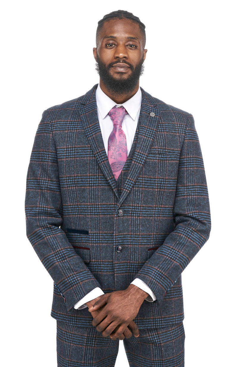 Navy Tweed Check Blazers | Mens Tweed Jackets | Marc Darcy Blazers | Mens Tweed Suits