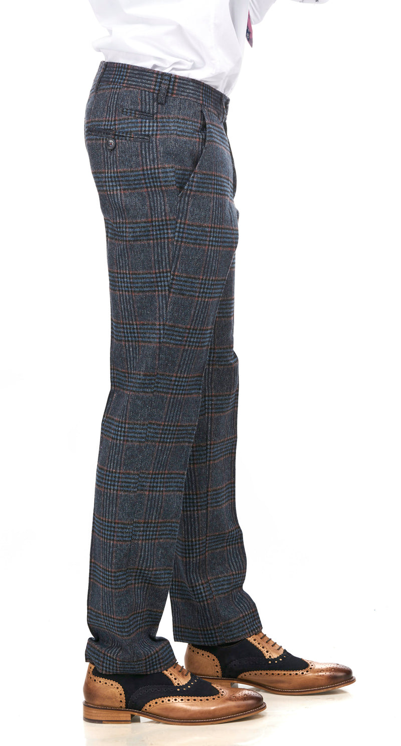 Luca Navy Check Tweed Trousers | Mens Tweed Trousers | Marc Darcy | Mens Tweed Suits