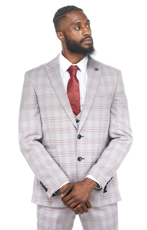 Alvin Grey Pink Check Wedding Suit | Marc Darcy Suits | Mens Tweed Suits | Marc Darcy Alvin Suit