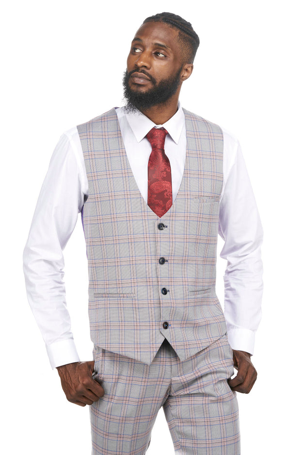 Mens Grey Pink Check Single Breasted Waistcoat | Mens Tweed Suits | Marc Darcy Menswear