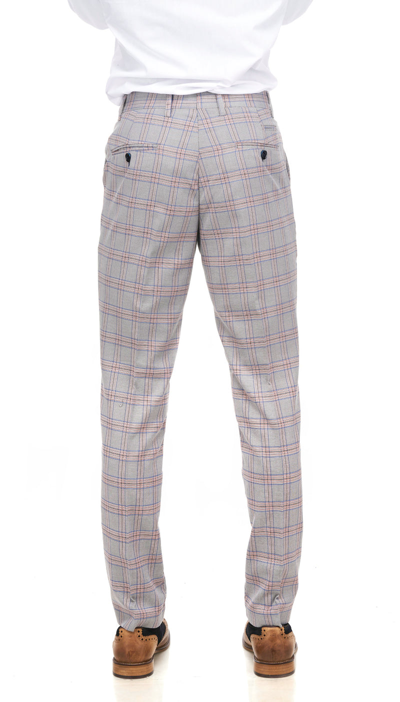 Grey Pink Check Trousers | Mens Check Trousers | Marc Darcy Suits | Mens Tweed Suits
